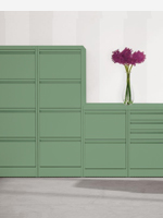Green 2,3 and 4 drawer filing cabinets