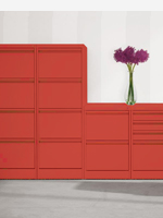 Red 2,3 and 4 drawer filing cabinets